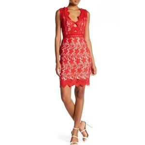 NWT Soieblu Red Sleeveless Crochet Lace Dress